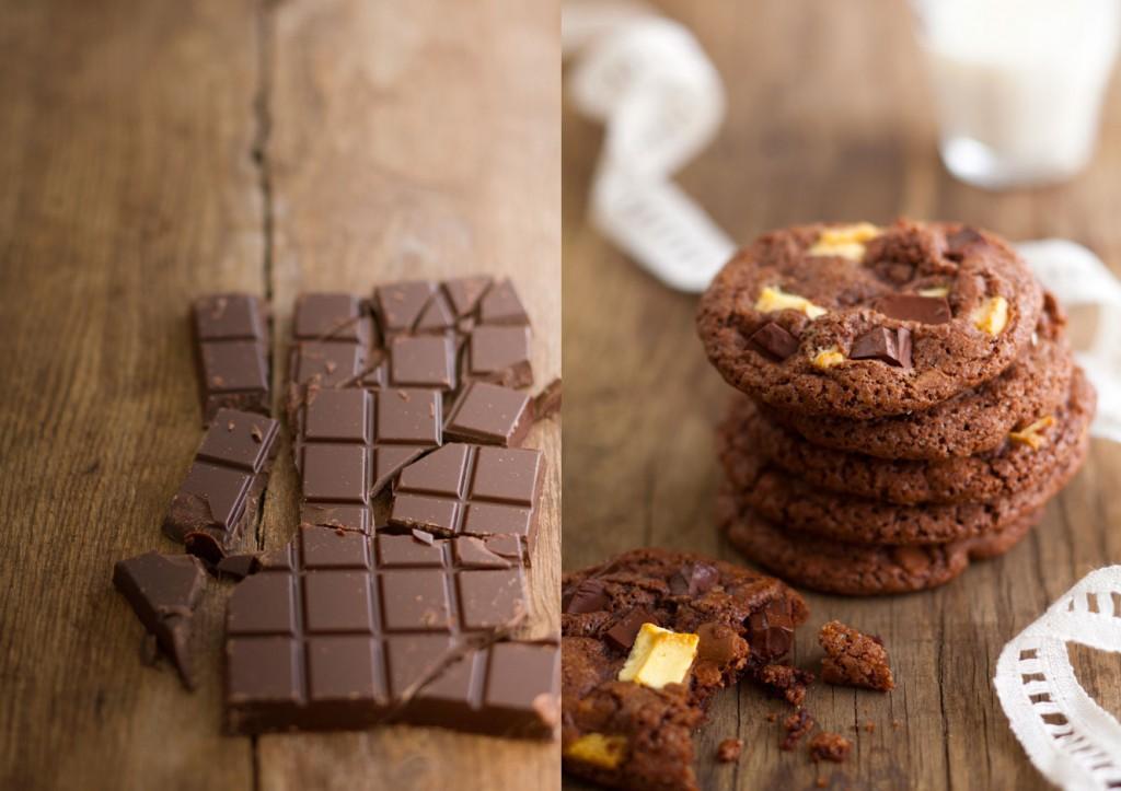 CHOCOLAT / COOKIES AU CHOCOLAT NOIR ET BLANC PHOTOGRAPHIES: JULIE CHARLES RÉALISATIONS ET STYLISME CULINAIRE: SARAH VASSEGHI